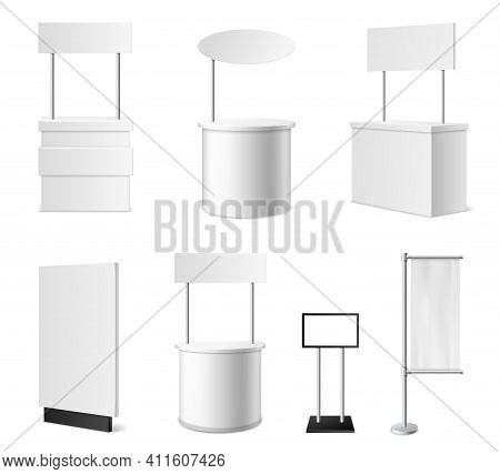 Realistic Promotional Stands. 3d White Blank Advertising Counters Collection, Isolated Blank Events