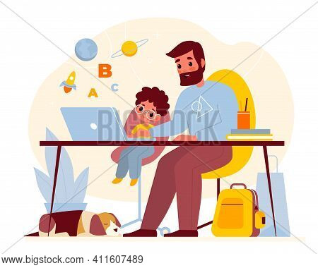 Teaching At Home. Father Helps Son With Homework, Parent With Child At Computer Table, Kids Online E