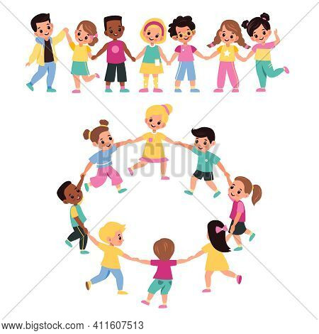 Kids Holding Hands. Happy Multicultural Cute Preschool Children Lead Round Dance Together, Girls And
