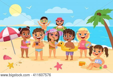 Beach Kids. Happy Children Summer Holidays, Cute Boys And Girls In Swimsuits Playing With Toys Sand