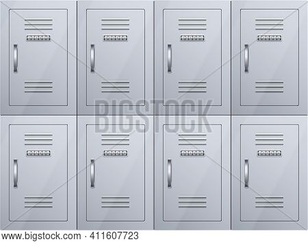 Lockers Cabinets At Railway Station Or Airport. Row Luggage Lockers With Combination Lock. Vector Il