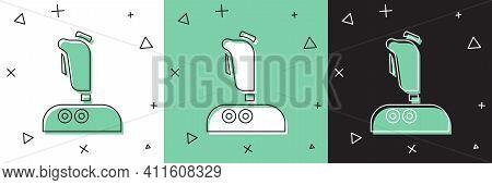 Set Joystick For Arcade Machine Icon Isolated On White And Green, Black Background. Joystick Gamepad