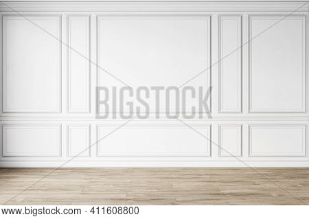 Classic White Empty Interior With Wall Panels, Moldings And Wooden Floor. 3d Render Illustration Moc
