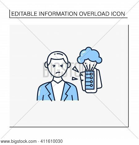 Information Explosion Line Icon. Rapid Increase In Amount Of Published Information Or Data. Informat