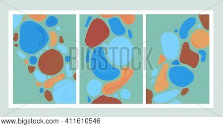 A Set Of Abstract Vertical Paintings. 3 Pieces. Oil Painting. The Minimalism Of The Round Spots. Art
