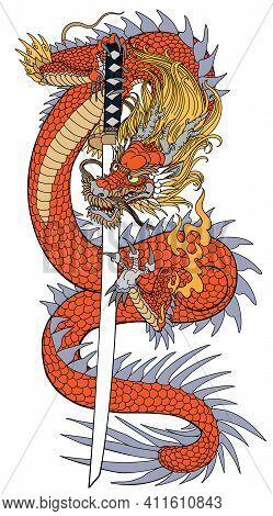 A Japanese Dragon With A Katana Sword. Asian And Eastern Mythological Creature. Isolated Tattoo Styl