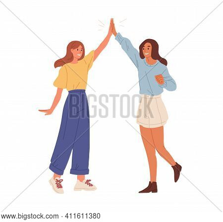 Happy People Giving High Five. Friends Greeting Or Supporting Each Other. Informal Hi Gesture. Conce