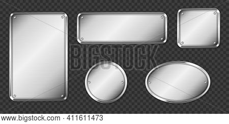 Steel Or Silver Plates, Name Plaques Empty Mockup. Metal Grey Identification Tags Or Badges, Round,