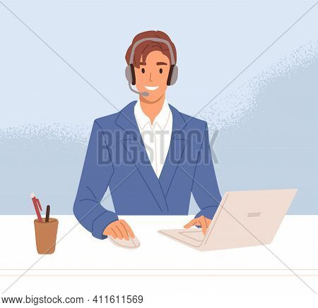 Smiling Operator Of Call Center In Headset Consulting Customers Online. Support Agent Working At Hel
