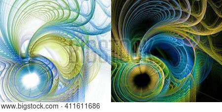 Yellow And Blue Arcs Extend From The Flaky Circles In Layers, Similar To Feathers, On White And Blac