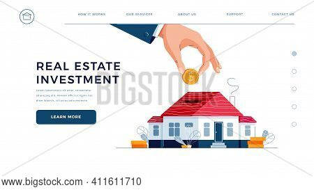 Real Estate Investment Web Template. Investors Hand Puts The Coin Into House Piggy Bank For Real Pro