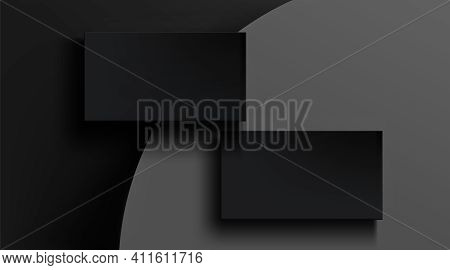 Black Business Cards Template On Gray Abstract Background. Vector Realistic Mockup Of 3d Blank Matte