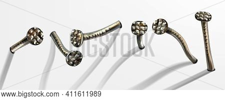 Old Bent Iron Nails Hammered Into Wall, Rusty Spikes With Circle Head. Vector Realistic Set Of Metal