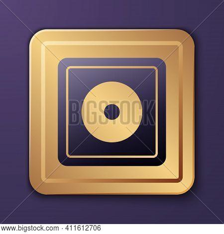 Purple Billiard Chalk Icon Isolated On Purple Background. Chalk Block For Billiard Cue. Gold Square