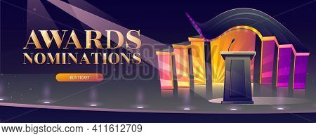 Award Nominations Cartoon Banner With Tribune, Microphone, Glowing Spotlights In Conference Hall, St