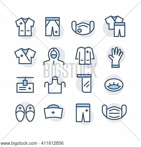 Set Of Colored Icons Of Medical Clothes For Doctors, Nurse In Hospitals, Laboratories, Emergency Roo