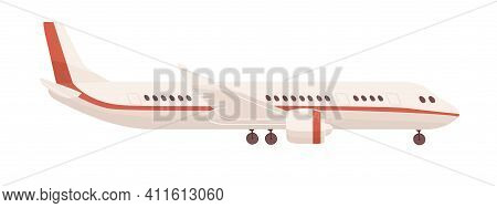 Side View Of Passenger Airplane Or Aircraft With Undercarriage. Profile Of Air Plane Isolated On Whi