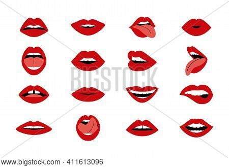 Cartoon Woman S Lips. Woman Sexy Kiss, Open And Closed Mouth Collection, Red Lipstick Glamour Shapes