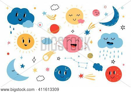 Cute Clouds And Suns. Cartoon Funny Sun, Planets, Stars And Clouds For Baby Greeting Cards. Vector C