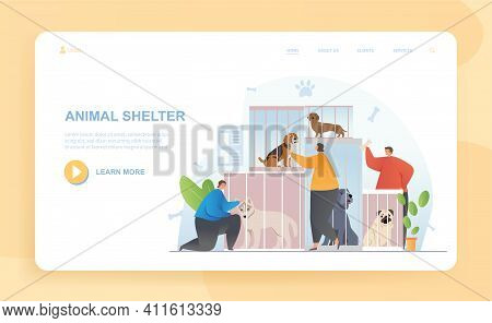 Male And Female Characters Are Adopting Animals In Shelter. Visitors Came To Pet Dogs Sitting In Cag