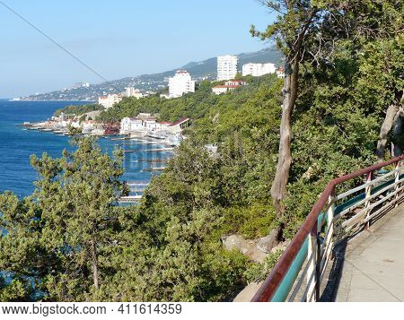 Seascape. Top View Of The Beach And Coastline. Southern Crimea. Velvet Season. The Area Of The Villa