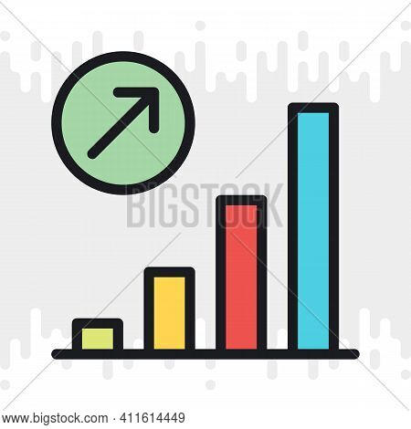 Growth Chart Icon. Concept Of Growing Sales Or Increasing Profits In Business. Simple Color Version