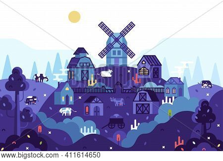 Vector Cartoon 2d Illustration In Flat Cartoon Stile - Panorama With Village Houses With Barn, Cows