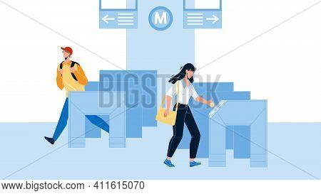 Entry Metro People Pass Through Turnstiles Vector