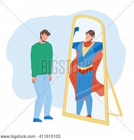 Man Seeing Himself In Mirror As Super Hero Vector
