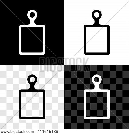 Glowing Neon Cutting Board Icon Isolated On Black Background. Chopping Board Symbol. Vector