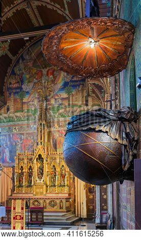 Interior of Basilica of the Holy Blood in Brugge Belgium