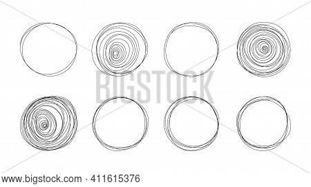 Doodle Circles. Hand Drawn Round Banners For Text, Social Media Background Template. Vector Isolated