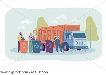 Garbage Truck Arriving To Take Disposal Containers With Waste And Refuse. Men Sorting Rubbish And Tr