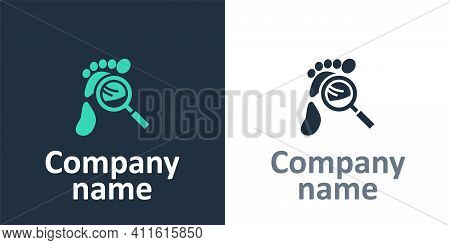Logotype Magnifying Glass With Footsteps Icon Isolated On White Background. Detective Is Investigati