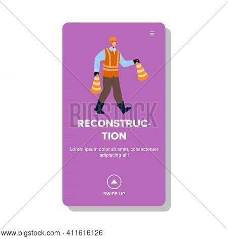 Reconstruction Occupation Man With Cones Vector Illustration