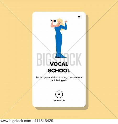 Vocal School Girl Student Performing Song Vector