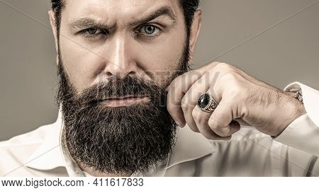 Bearded Man Close Up. Beard Is His Style. Male With Mustache Growing. Portrait Of Bearded Male In Wh
