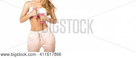 Fitness Woman Doing Exercises With Dumbbells. Woman With Dumbbell Fit Slim Abs Body. Healthy Lifesty
