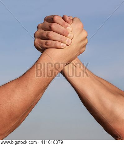 Hand Rivalry Vs Challenge Strength Comparison. Man Hand. Two Men Arm Wrestling. Arms Wrestling. Clos