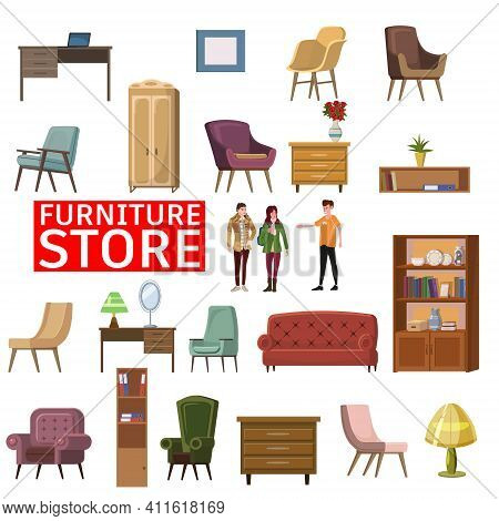 Furniture Shop Interior Set Of Furniture And Home Accessories. Sofa, Chairs, Armchairs, Bookshelf, P