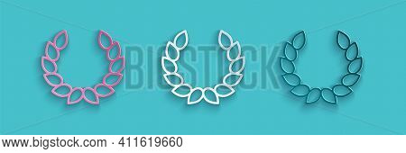 Paper Cut Laurel Wreath Icon Isolated On Blue Background. Triumph Symbol. Paper Art Style. Vector