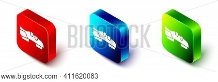 Isometric Triathlon Cycling Shoes Icon Isolated On White Background. Sport Shoes, Bicycle Shoes. Red