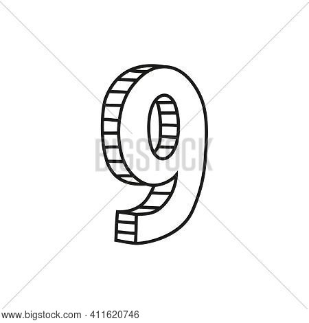 Vector Illustration Of Number Nine In Sketch Style. Hand Drawn Figure 9