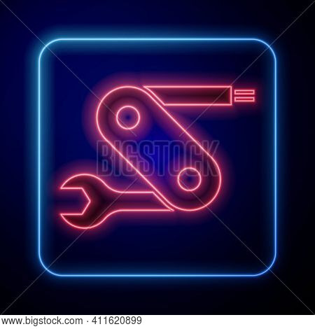 Glowing Neon Swiss Army Knife Icon Isolated On Black Background. Multi-tool, Multipurpose Penknife.