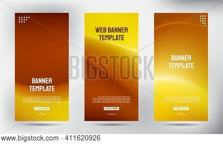 Set Of Simple Brown Mesh Color Roll Up Business Brochure Flyer Banner Design Vertical Template, Cove