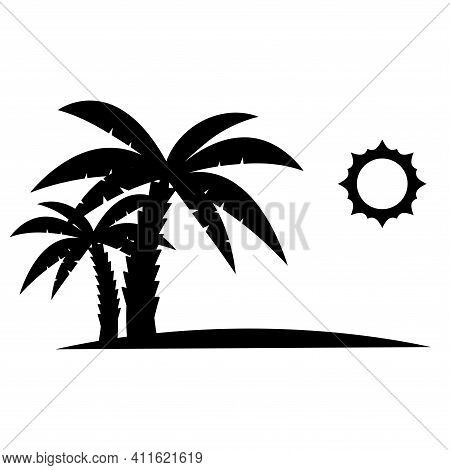 Palm Trees With Sun In Black Color. Glyph Icon, Relaxes. Palm Trees On The Beach. Tropical Floral. S