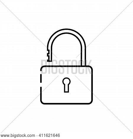 Simple Line Lock Icon Illustration On White Background. Lock Vector. Lock Icon. Lock Sign. Lock Symb