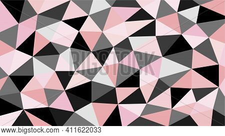 Black Gray Pink And Orange Soft Pastel Color Gradient Abstract Geometric Triangular Polygon Style. G