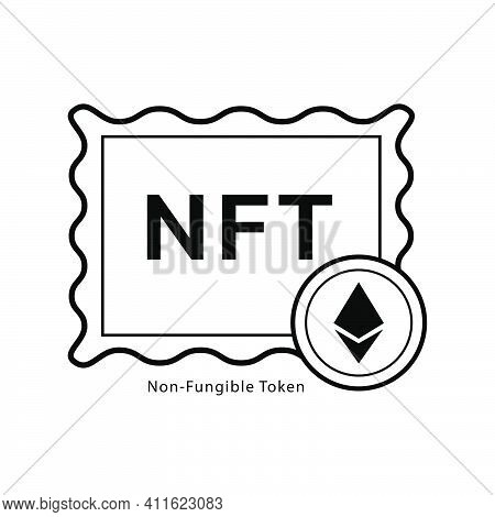 Nft,non-fungible Token With Frame Art Icon Vector Graphic