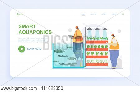 Male And Female Characters Are Working On Aquaponics Together. Man And Woman Producing Food By Conne